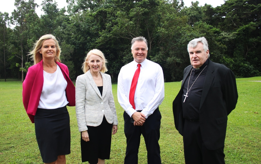 L to R: Cairns Catholic Education Services Acting Executive Director Dr Sally Towns, JCU Vice Chancellor Professor Sandra Harding, JCU Cairns Campus Director David Craig and Bishop of Cairns James Foley at the JCU site of the proposed Catholic college.