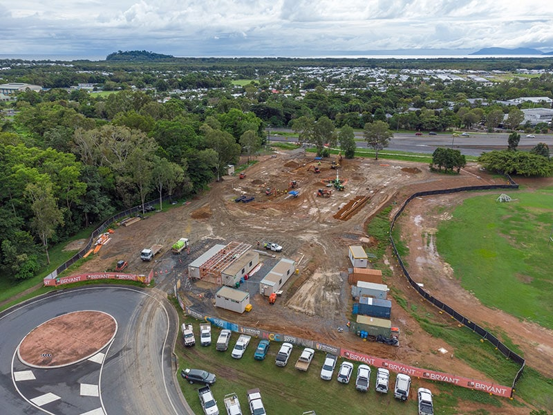 An aerial photograph showing progress at the site of Newman Catholic College in Smithfield. Picture: Stephen Nutt
