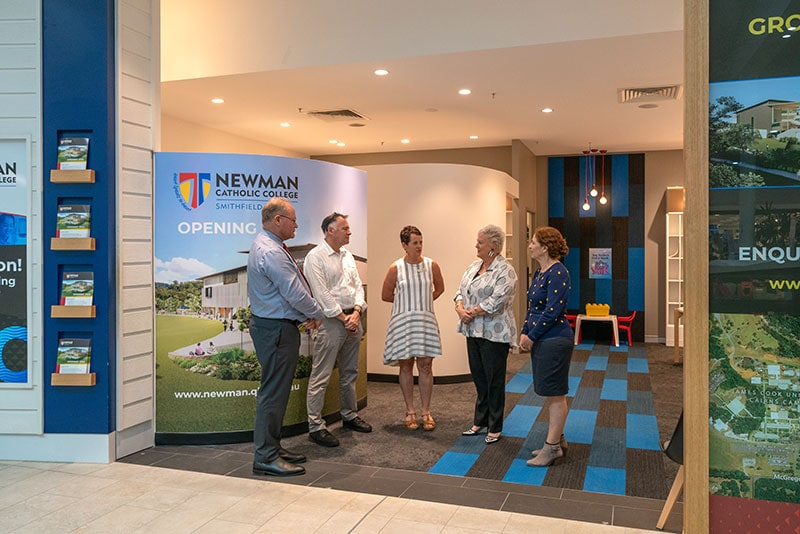 (L-R) Cairns Catholic Education Services Executive Director Bill Dixon, James Cook University Cairns Campus Director David Craig, James Cook University Deputy Vice Chancellor Students Maree Dinan-Thompson, Cairns Catholic Education Services Director of School Effectiveness P-12 and Secondary Andrea O'Brien and Newman Catholic College Foundation Principal Lauretta Graham at the opening of the College's temporary office in Smithfield Shopping Centre on February 17. Picture: Stephen Nutt