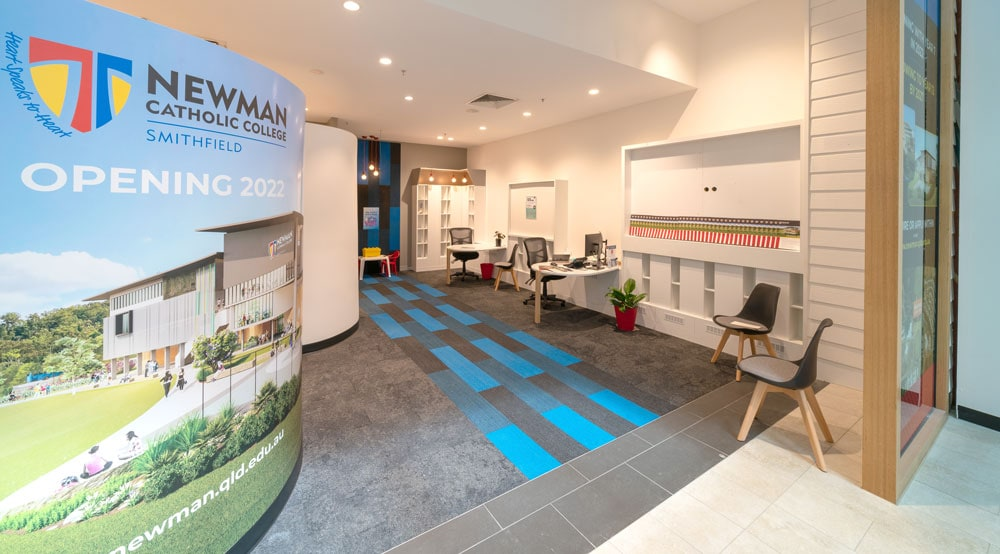 The new temporary office for Newman Catholic College at Smithfield Shopping Centre, opposite K-Mart.
